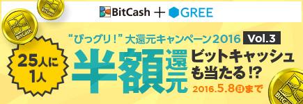 """「ビットキャッシュ」+「グリー」=""""びっグリ!""""大還元キャンペーン2016 vol.3"""