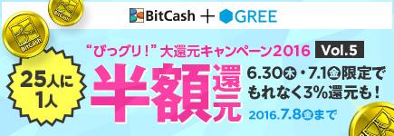 """「ビットキャッシュ」+「グリー」=""""びっグリ!""""大還元キャンペーン2016 vol.5"""